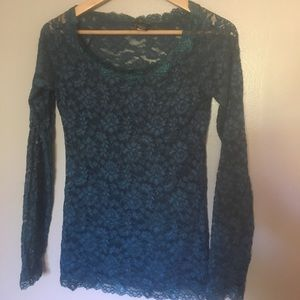 MODA International Long Sleeve Lace Top